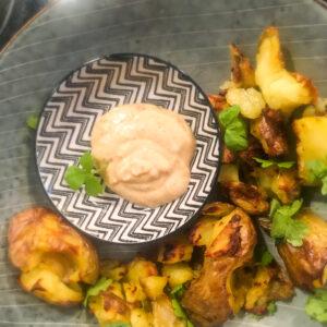 Smashed potatoes mit Chakalaka-Dip aus dem Reisekulinarium